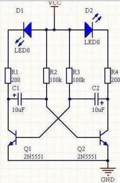 三极管应用实例:交替闪光灯实际电路的配置(vcc=5伏)