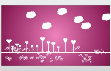 粉色爱心背景的动态情人节ppt模板