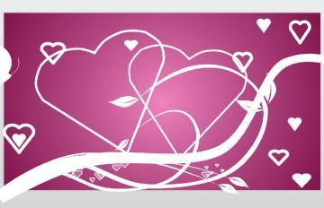 粉色为背景色,搭配简洁简约的白色线条勾勒的爱心
