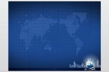 深蓝色地球城市背景ppt模板